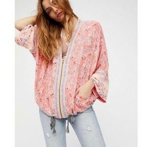 Free People Wildflower Kimono Top Zip Front Pink